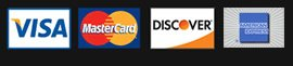 We accept Visa, Master Card, Amex and Discover