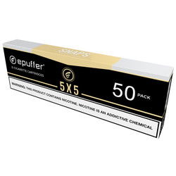 epuffer snaps tobacco 5x5 cartrdiges black 50 pack