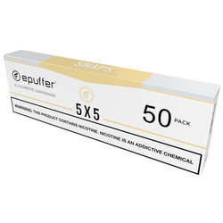 epuffer snaps ecig 5x5 tobacco tan cartridges 50 pack